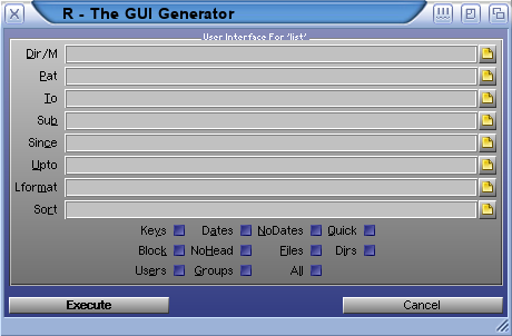 GUI create by R for the AmigaDOS command list